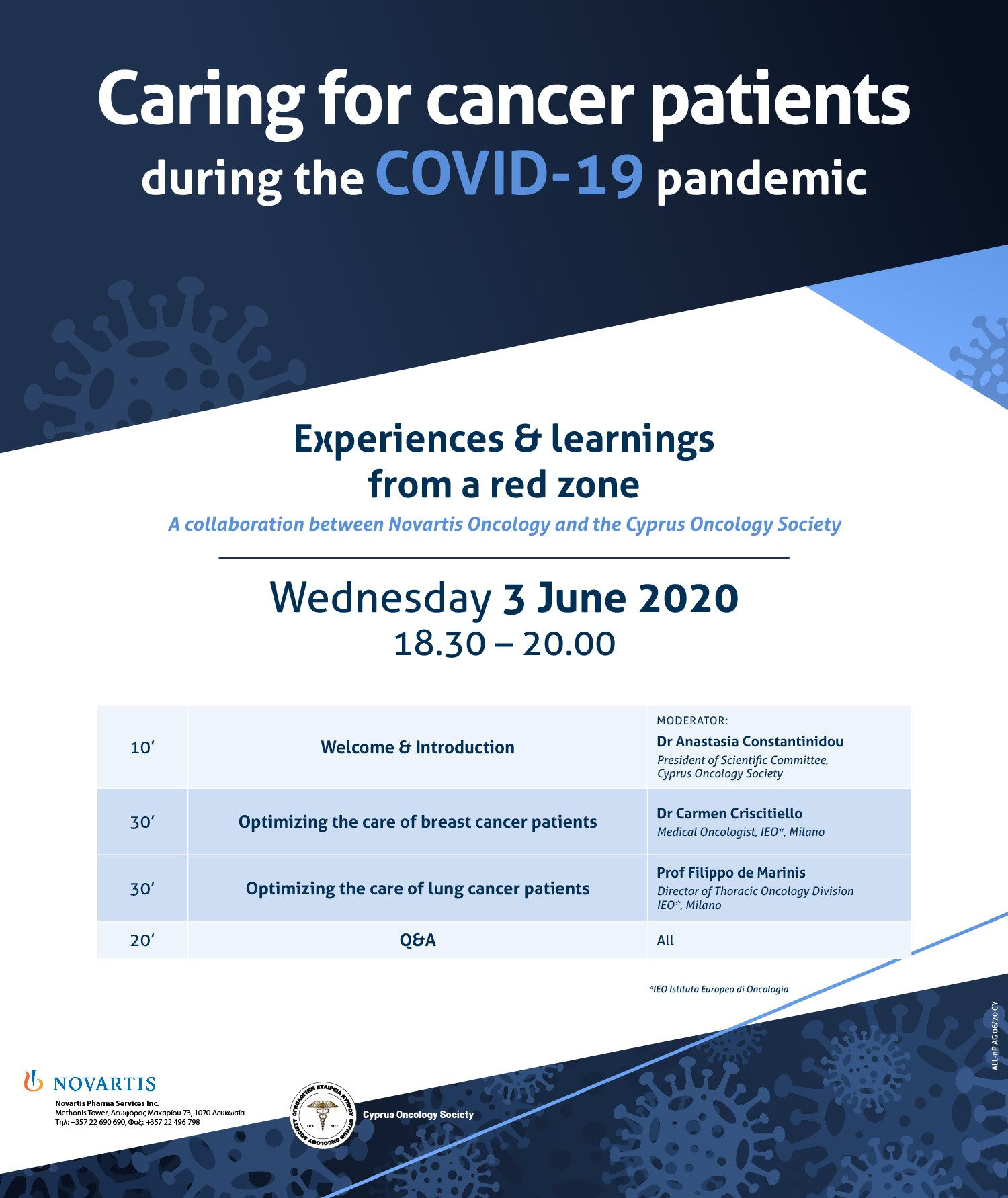 Caring for cancer patients during COVID19 Agenda JUNE 3